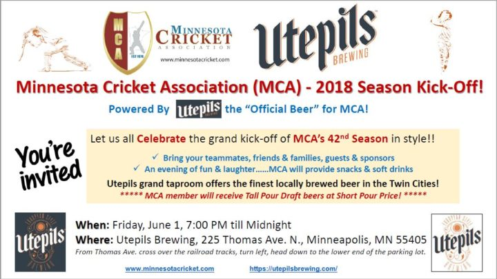 Utepils Brewing – Proud Sponsor of MCA invites you for 2018 Season Kickoff
